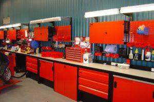 System7 werkplaatsinrichting in bedrijfskleur